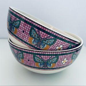 Anthropologie Garden Tile Bistro Butterfly Bowls